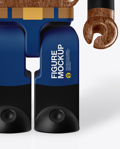Glossy Wooden  Collectible Figure Mockup