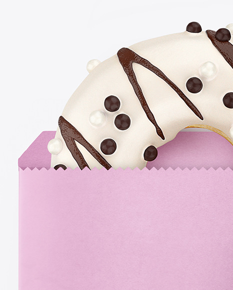 Paper Pack with White Chocolate Glazed Donut Mockup