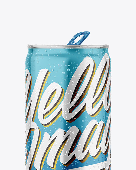 Metallic Drink Can With Condensation Mockup