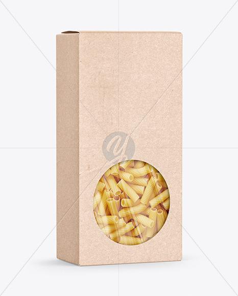 Kraft Paper Box with Tortiglioni Pasta Mockup