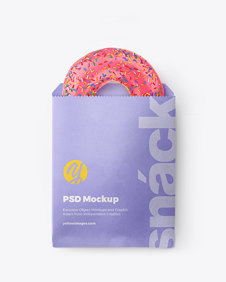 Download Paper Pack With Pink Glazed Donut In Packaging Mockups On Yellow Images Object Mockups PSD Mockup Templates