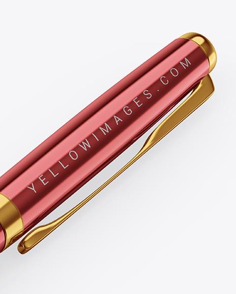 Glossy Metallic Pen Mockup
