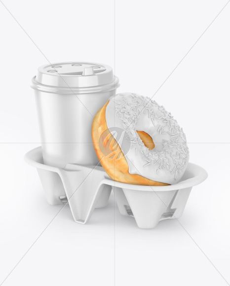 Coffee Cup with Donut in Holder Mockup