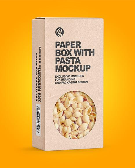Kraft Paper Box with Conchiglie Rigate Pasta Mockup