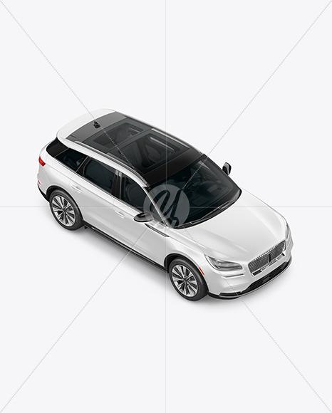 Crossover SUV Mockup - Top HalfSide View (High-Angle Shot) - Yellowimages Mockups