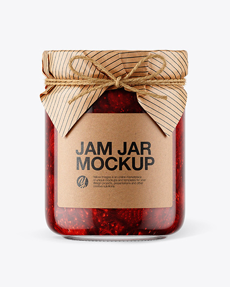 Glass Strawberry Jam Jar with Paper Cap Mockup