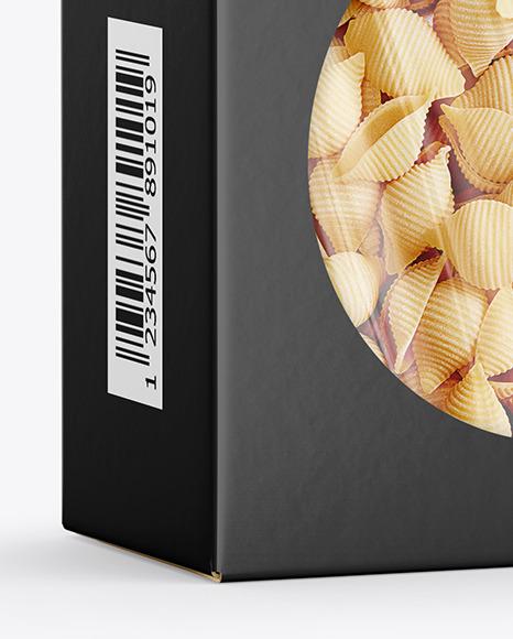 Paper Box with Conchiglie Rigate Pasta Mockup
