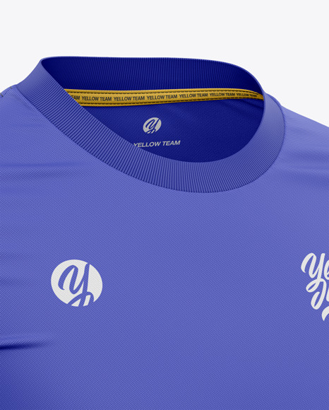 Men's Crew Neck Soccer Jersey Mockup - Front Half-Side View