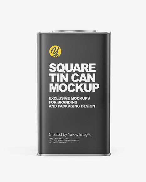 Matte Square Tin Can Mockup