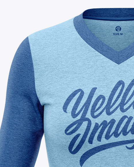 Women's Heather Long Sleeve T-Shirt Mockup - Front View
