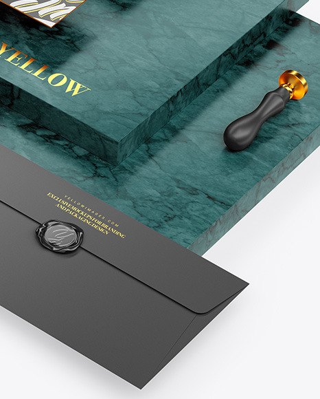 Two Business Cards & Envelope with Marble Mockup