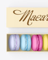Opened Paper Box With Macarons Mockup