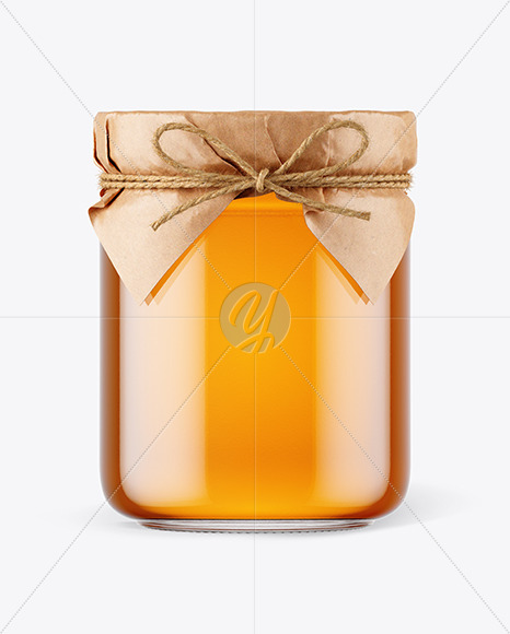 Download Glass Honey Jar With Paper Cap Mockup In Jar Mockups On Yellow Images Object Mockups PSD Mockup Templates