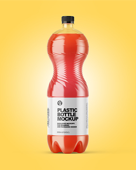 PET Bottle with Pink Grapefruit Drink Mockup