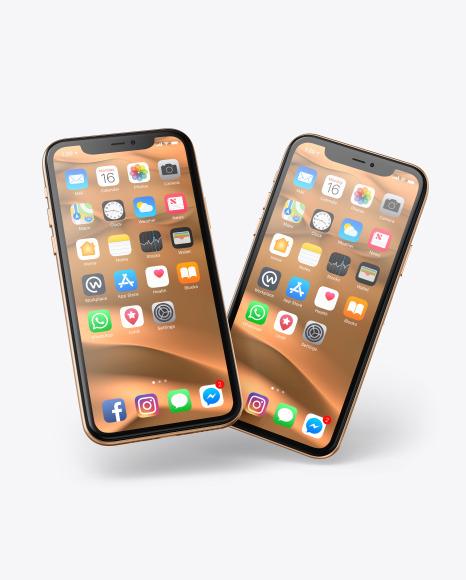 Two Apple iPhones 11 Pro Mockup