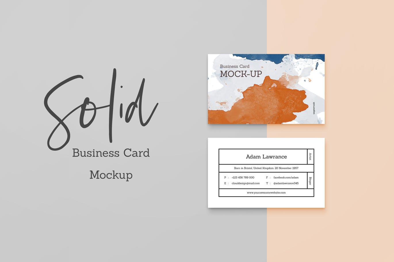Download Solid Business Card Mockup In Stationery Mockups On Yellow Images Creative Store PSD Mockup Templates