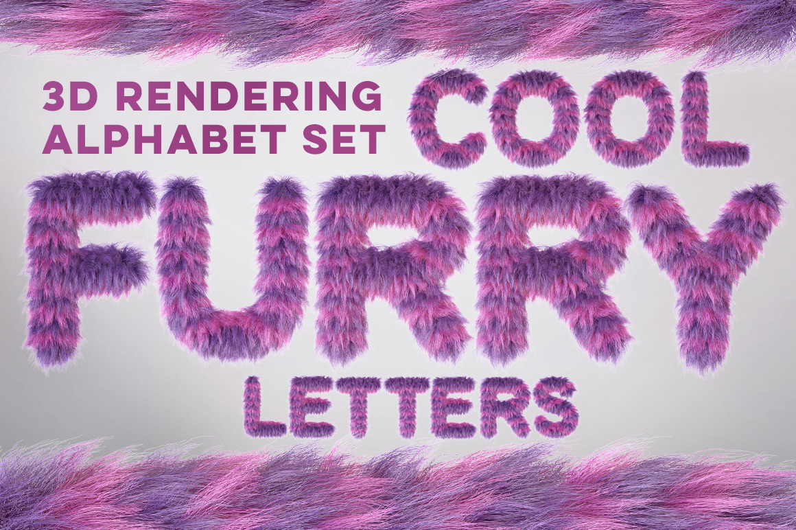 3D Cartoon Violet Furry Letters Pack
