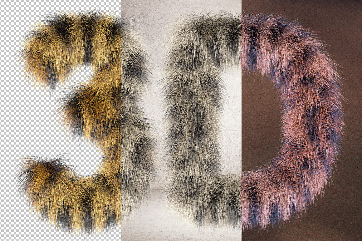 3D Leopard Furry Letters Pack