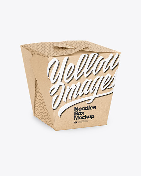Download Kraft Paper Noodles Box Mockup Half Side View High Angle Shot In Box Mockups On Yellow Images Object Mockups