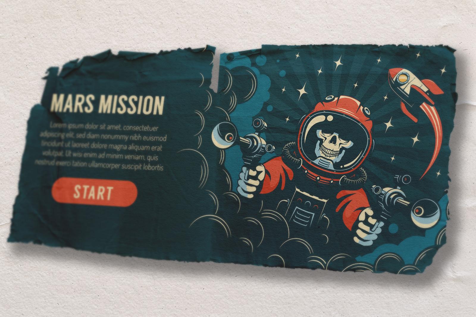 Space Rocket Vintage Banner Set