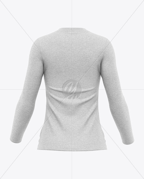 Women's Heather Long Sleeve T-Shirt Mockup - Back View