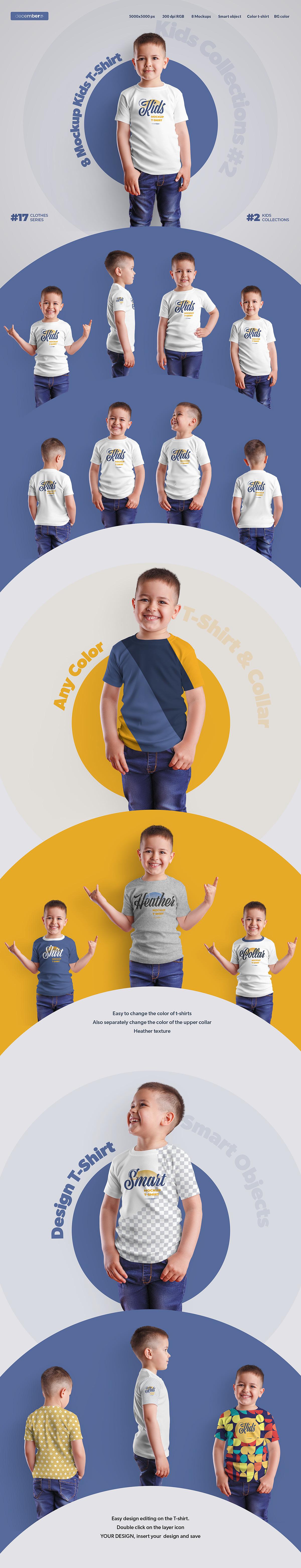 8 Mockups Kids  T-Shirt Boy