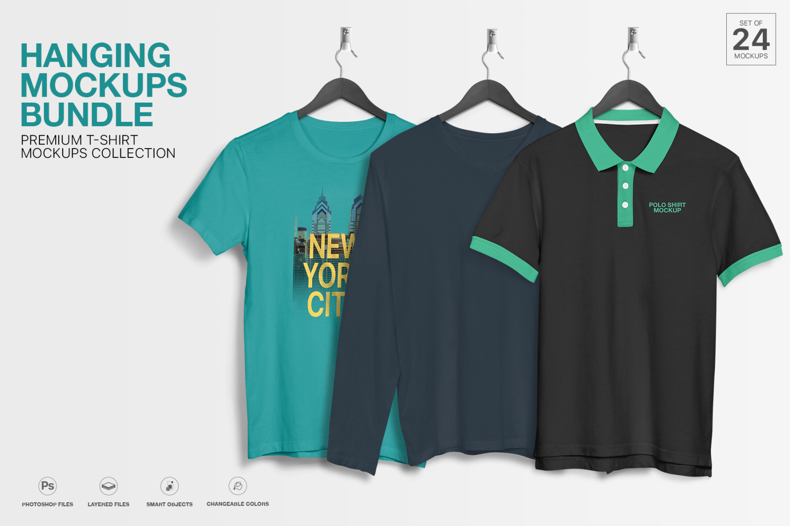 Download T Shirt Mockup Hanging Apparel Bundle In Apparel Mockups On Yellow Images Creative Store PSD Mockup Templates