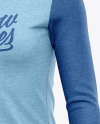 Women's Heather Long Sleeve T-Shirt Mockup - Front Half Side View