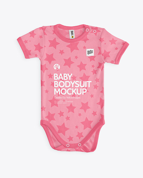Download Baby Bodysuit Mockup Back Side Top View Yellow Images
