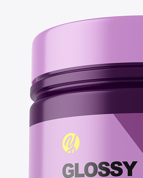 Glossy Protein Jar w/ Shrink Sleeve Mockup