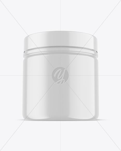 Matte Plastic Jar With Shrink Sleeve Mockup