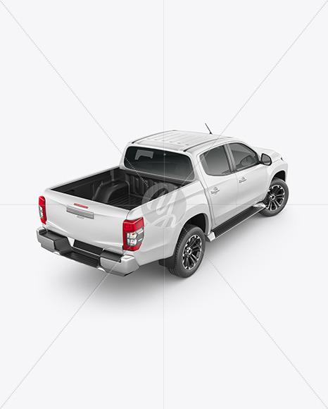 Pickup Truck Mockup - Back Half Side View (High-Angle Shot) - Yellowimages Mockups