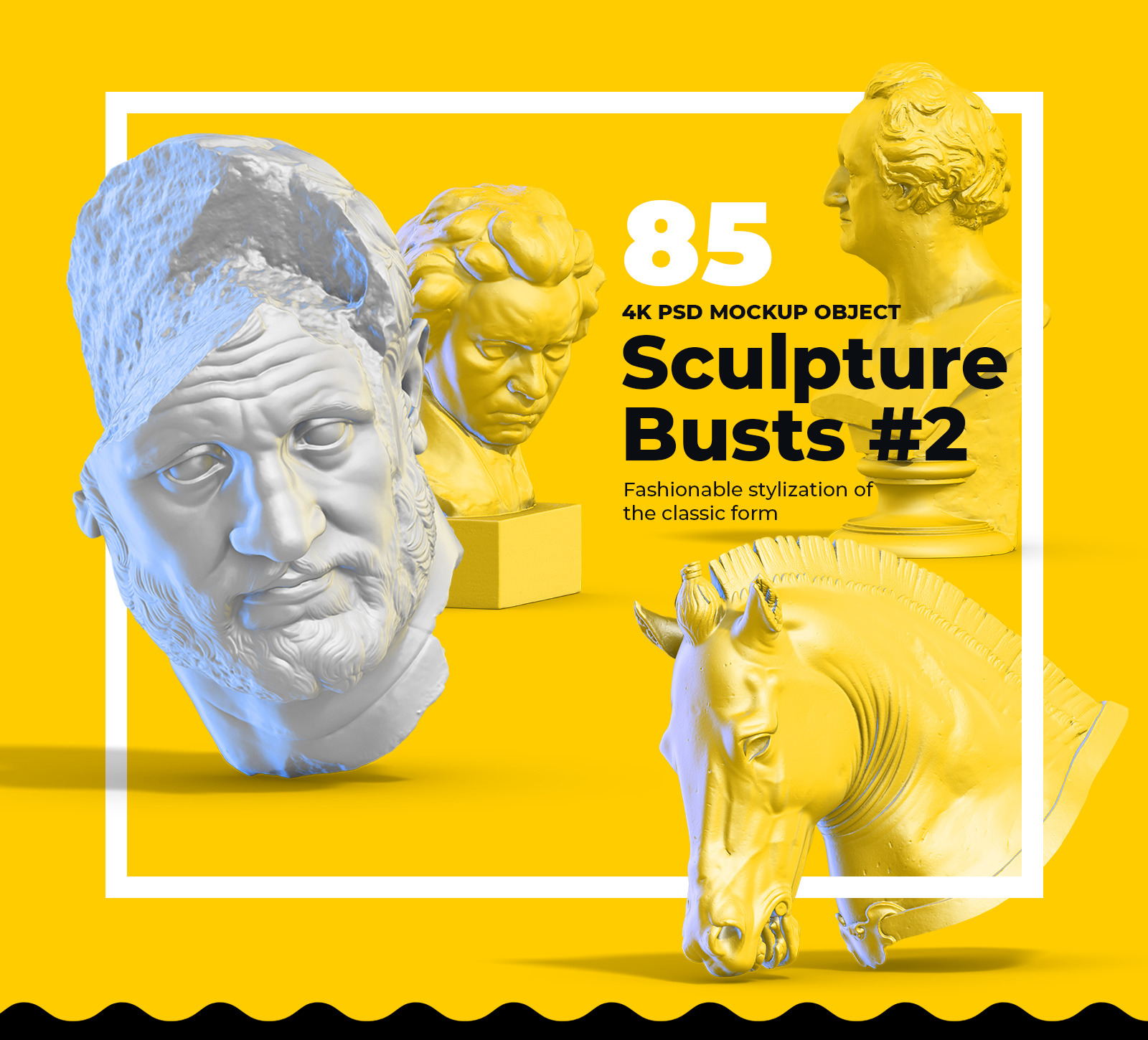 Collection of 85  Sculptures Busts #2, for branding and design of your product