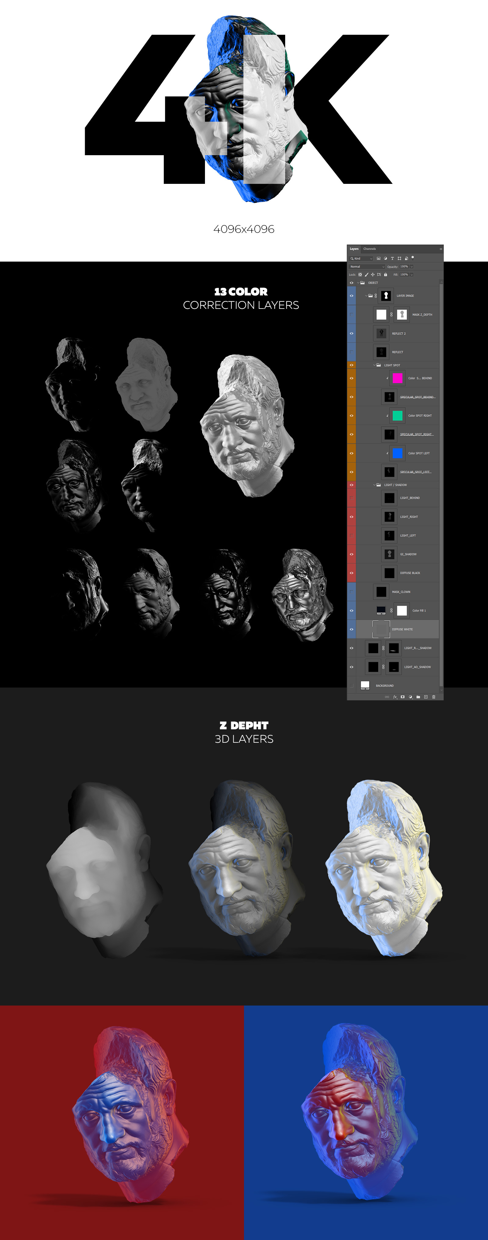 Collection of 5 Sculptures Busts #3, for branding and design of your product
