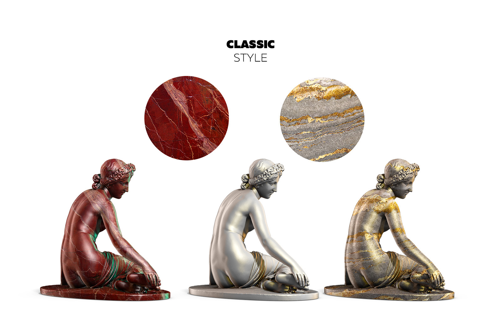 Collection of 130 Sculptures Statue #4, for branding and design of your product