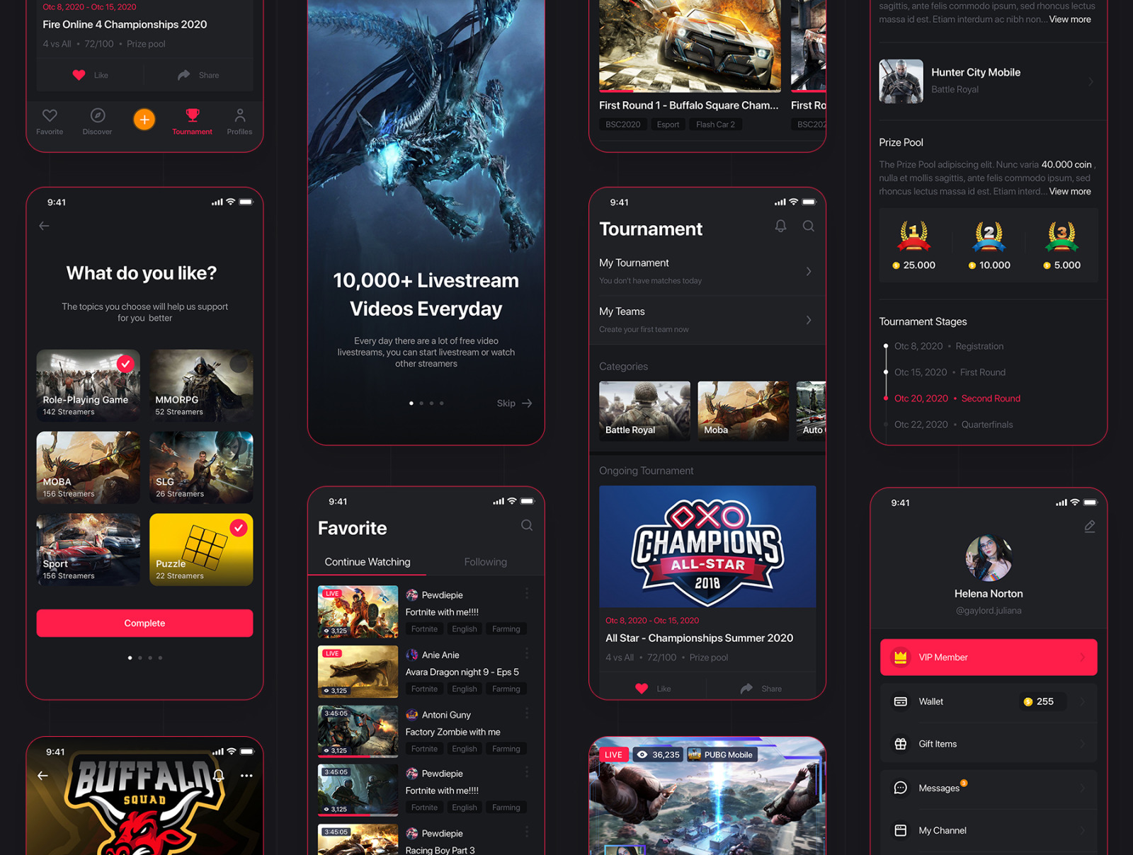 Climax - Live Game Streaming UI Kit