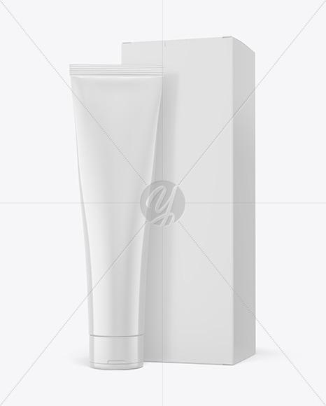 Cosmetic Tube w/ Paper Box Mockup