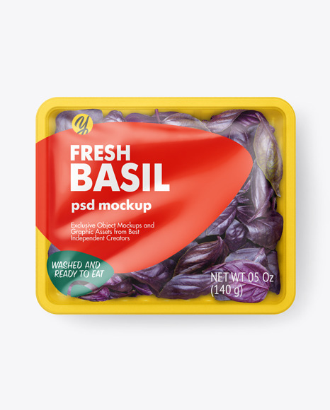 Plastic Tray With Fresh Basil Mockup