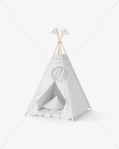 Kids Teepee Tent with Mat Mockup