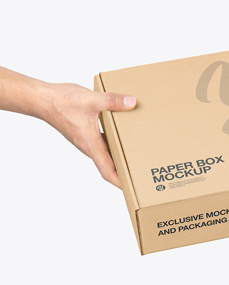 Mailing Box in Hands Mockup
