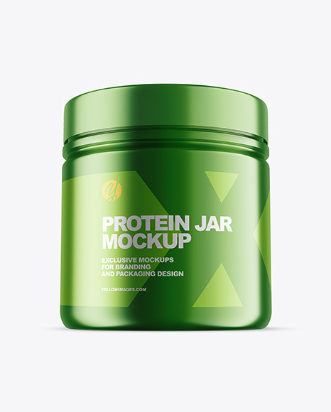 Metallic Protein Jar w/ Shrink Sleeve Mockup
