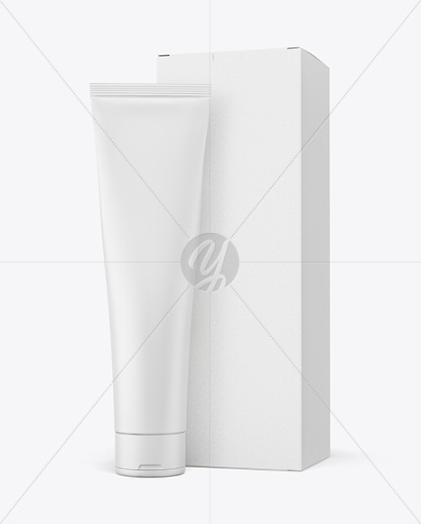 Cosmetic Tube w/ Kraft Paper Box Mockup