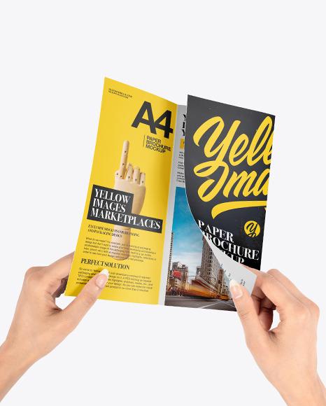 Trifold Brochure Mockup in Hands