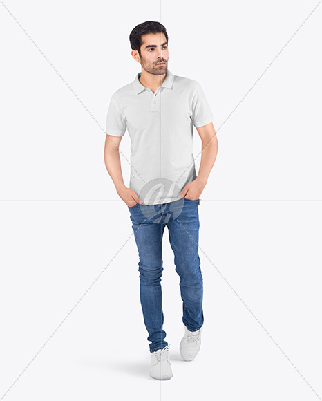 Man in a Polo T-Shirt and Jeans Mockup