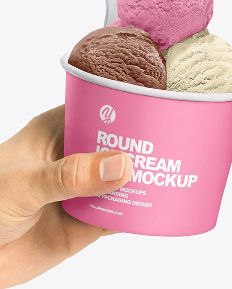 Paper Ice Cream Cups in Hands Mockup
