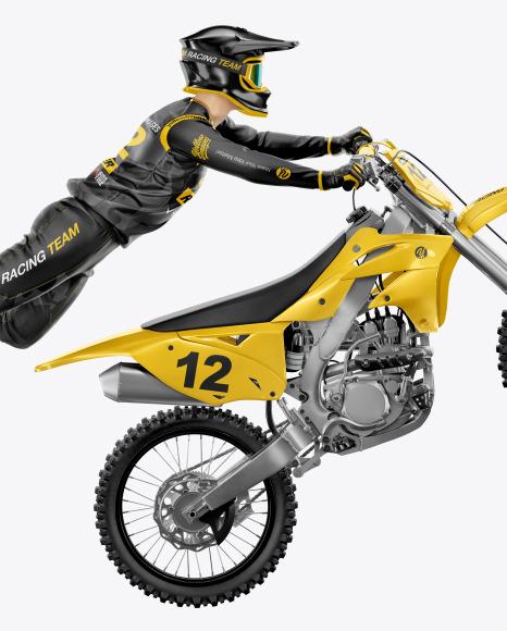 Flying Motocross Racer w/ Bike Mockup