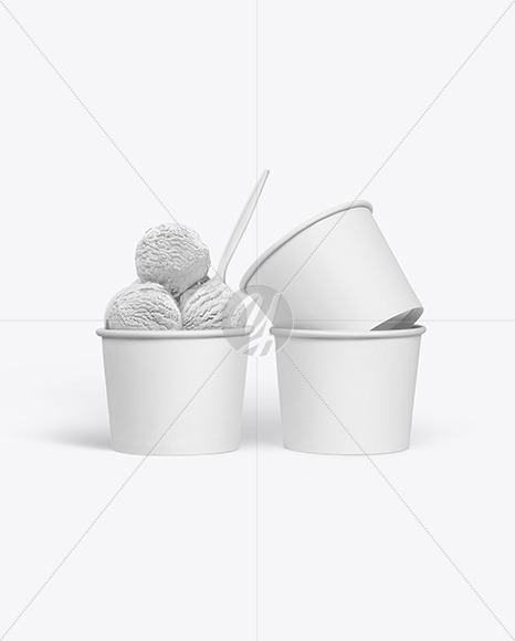 Paper Ice Cream Cups Mockup