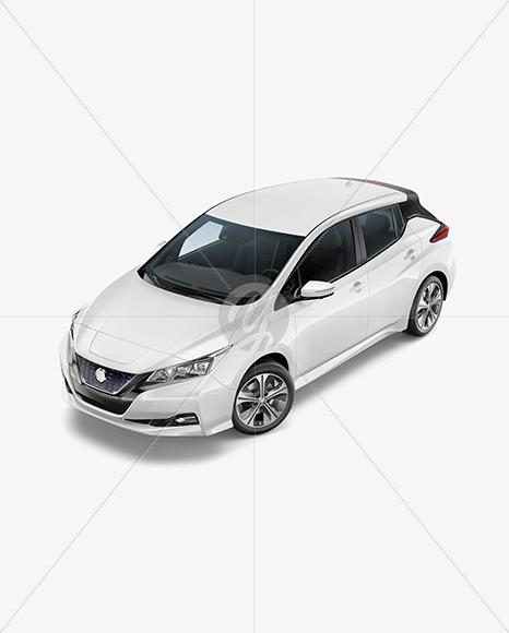 Electric Compact Car Mockup- Half Side View (High-Angle Shot) - Yellowimages Mockups