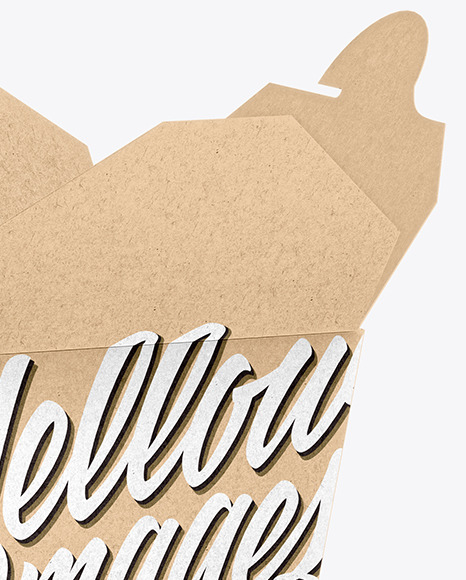 Download Opened Kraft Paper Noodles Box Mockup Half Side View In Box Mockups On Yellow Images Object Mockups PSD Mockup Templates
