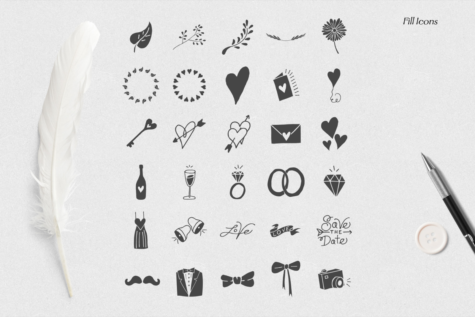Rustic Wedding Icons